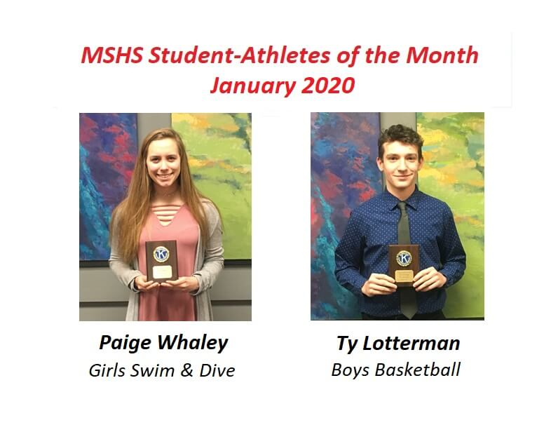 Paige Whaley and Ty Lotterman Named January Student-Athletes of the Month