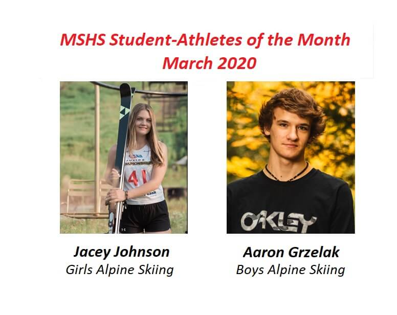 Jacey Johnson and Aaron Grzelak Honored as March Student-Athletes of the Month