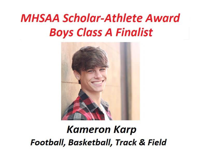 Kameron Karp Named Finalist for MHSAA Scholar-Athlete Award
